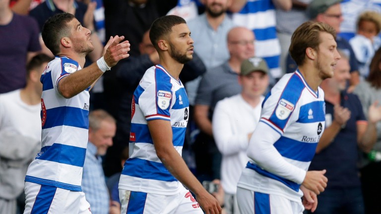 Tomer Hemed (left) celebrates a goal for Queens Park Rangers