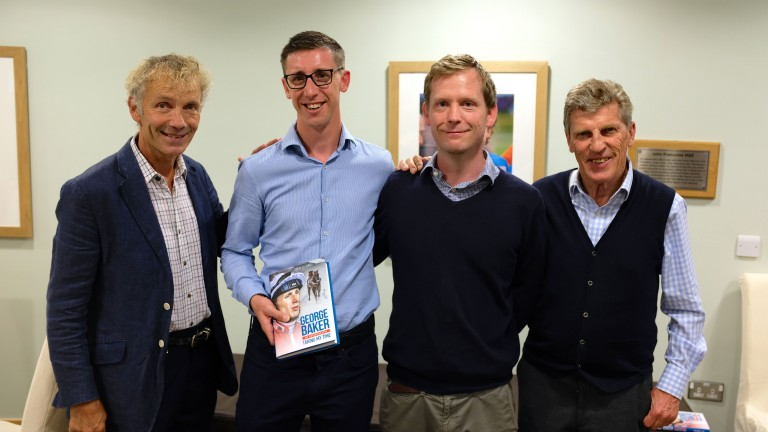 George Baker at Wednesday's Oaksey House launch of his autobiography, joined by John Francome, writer Tom Peacock and Brough Scott