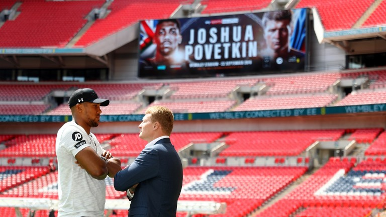 Anthony Joshua (left) goes head to head with Alexander Povetkin at Wembley Stadium