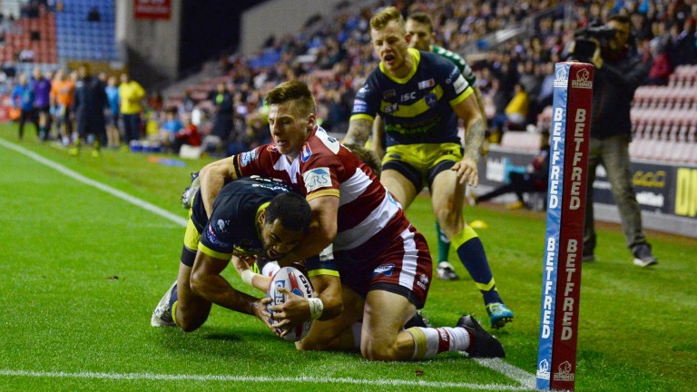 Wakefield ace Bill Tupou touches down at Wigan earlier this month