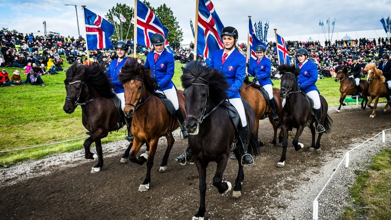 Riding club members parade with the Icelandic national flag at the opening ceremony of Landsmot