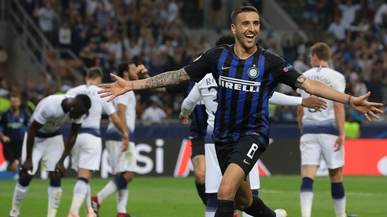 Matias Vecino celebrates his injury-time winner for Inter against Spurs