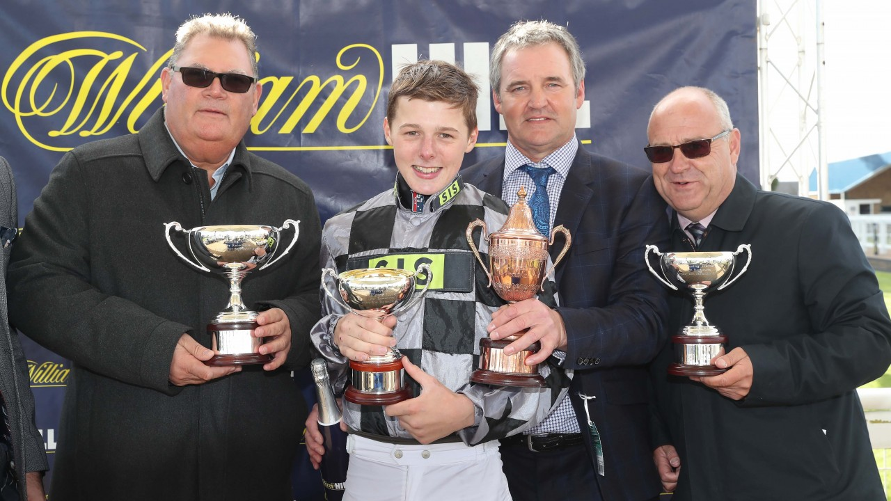 67cb07760a3 Jockey Oakley Brown and trainer Richard Fahey (far right) with two of the  owners