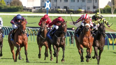 Intense Romance (second right) wins the first running of the Listed Al Maktoum Cup Arran Scottish Fillies' Sprint Stakes