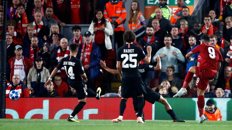 Roberto Firmino scores Liverpool's winner against PSG