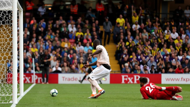Romelu Lukaku taps in Manchester United's opener in their win at Watford