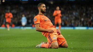 Nabil Fekir celebrates scoring Lyon's second goal against Man City