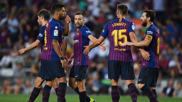 Barcelona celebrates a goal against Huesca