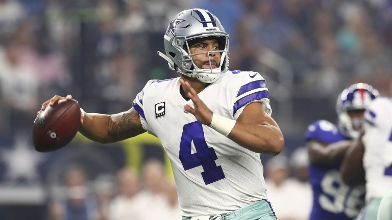 Dallas Cowboys QB Dak Prescott in action against the Giants