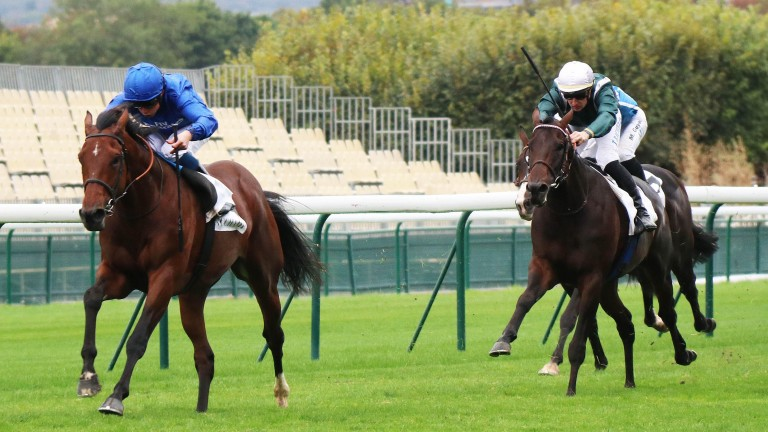 Ghaiyyath (William Buick) makes a belated winning seasonal reappearance at Longchamp