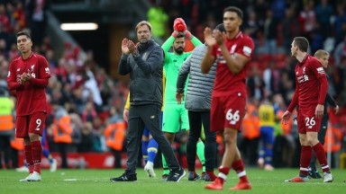 Jurgen Klopp, and Liverpool players applaud the Anfield crowd