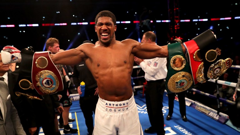 Anthony Joshua celebrates his Wembley win over Alexander Povetkin