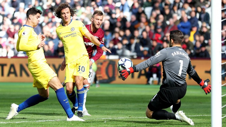 West Ham keeper Lukasz Fabianski saves from Chelsea's Alvaro Morata