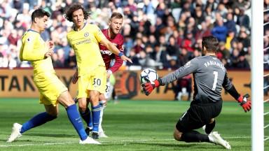 West Ham keeper Lukasz Fabianski saves from Chelsea's Alvaro Morata