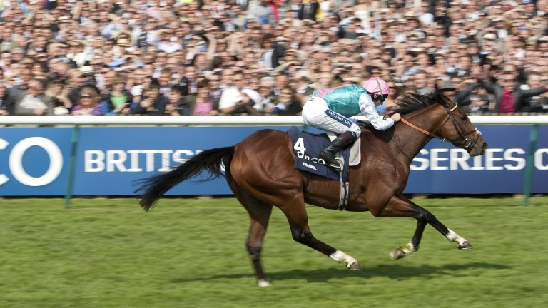 Frankel and Tom Queally in full flight in the 2,000 Guineas at Newmarket