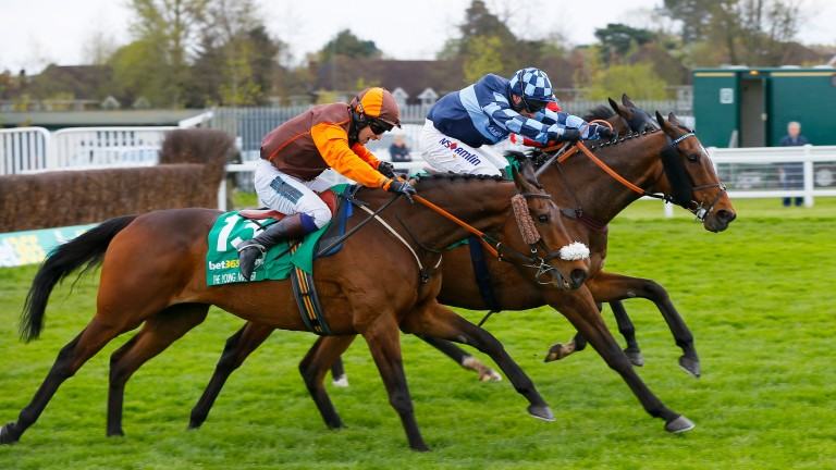 The Young Master and Sam Waley-Cohen (near side) on their way to winning the bet365 Gold Cup at Sandown in 2016