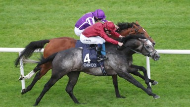 Roaring Lion and Oisin Murphy (nearside) beat Saxon Warrior and Ryan Moore in the Irish Champion Stakes