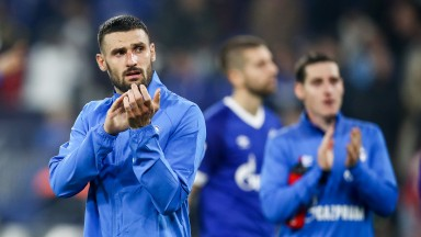 Schalke players thank their supporters after defeat their loss to Bayern Munich