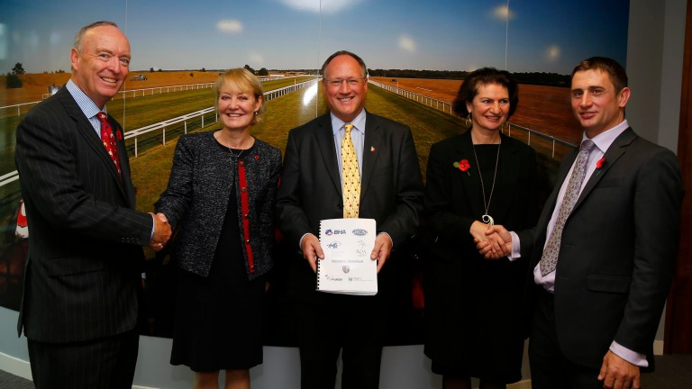 "Maggie Carver (second right):  ""These are challenging financial times for Britain?s racecourses"""