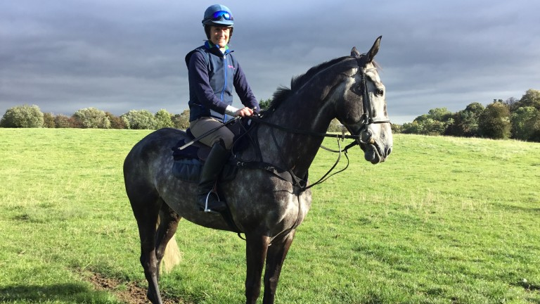 Jo Foster back on board a horse for the first time since breaking her back in a fall