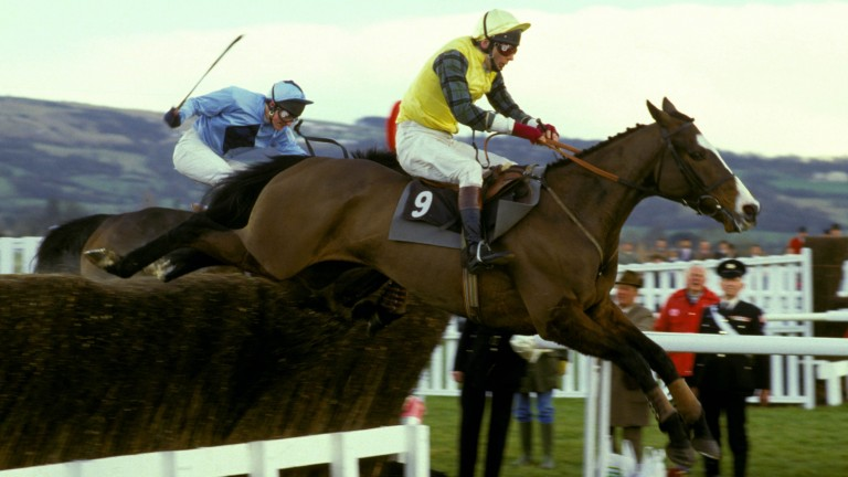 Very Promising (left) finishes second to Pearlyman in the 1987 Champion Chase