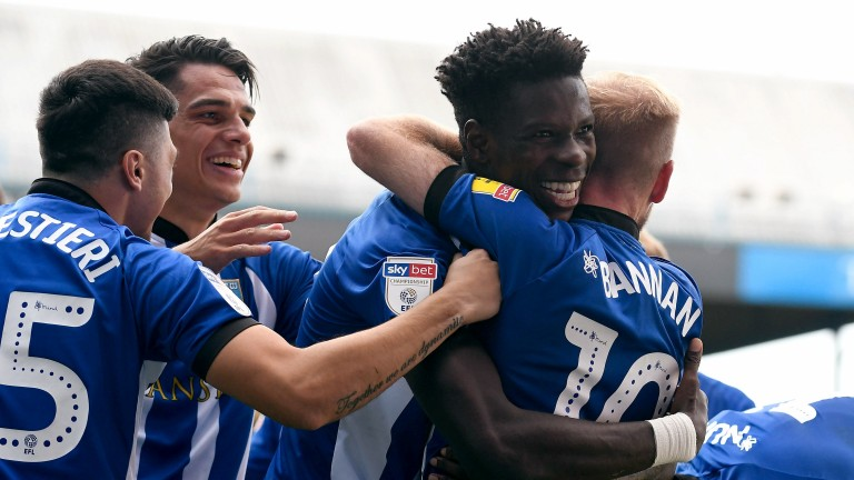 Lucas Joao of Sheffield Wednesday celebrates with his teammates