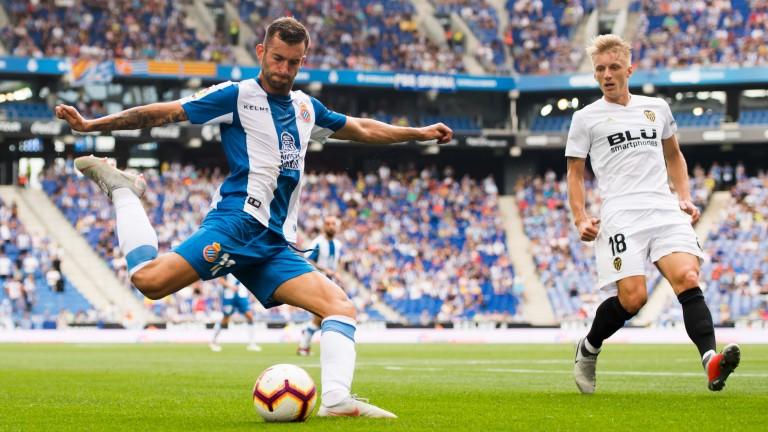 Leo Baptistao of Espanyol in action against Valencia