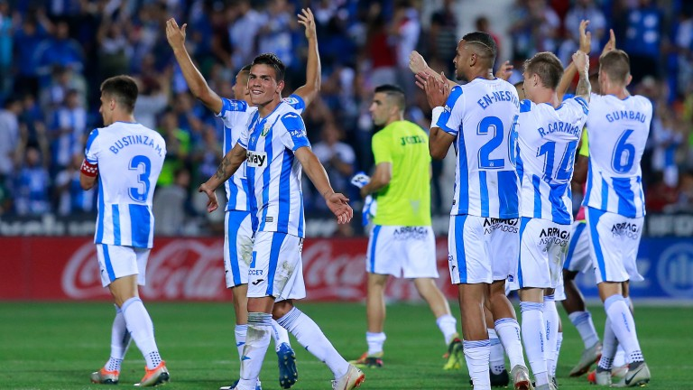 Leganes players celebrate their victory over Barcelona