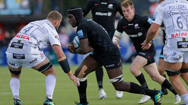 Maro Itoje makes ground with the ball for Saracens against Gloucester