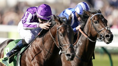 Make it a double: Ten Sovereigns (left) sees off the challenge of Jash in the Middle Park Stakes to complete a Group 1 double for Donnacha O'Brien