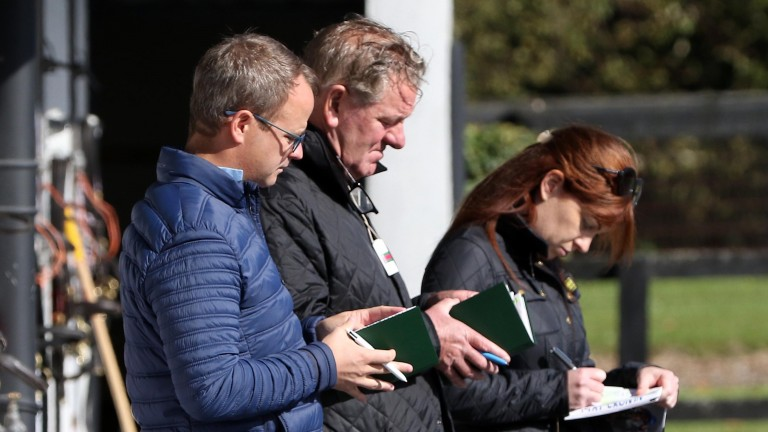 The Coolmore team of (left to right) MV Magnier, Paul Shanahan and Mairead Cronin