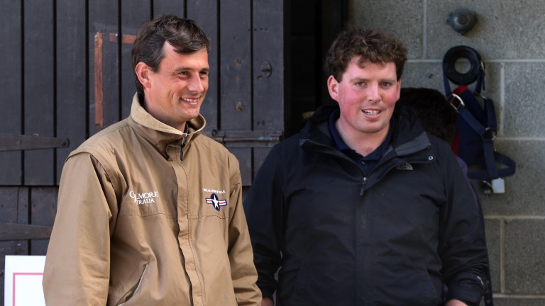 Fozzy Stack and Robert O'Callaghan appear to be sharing a joke