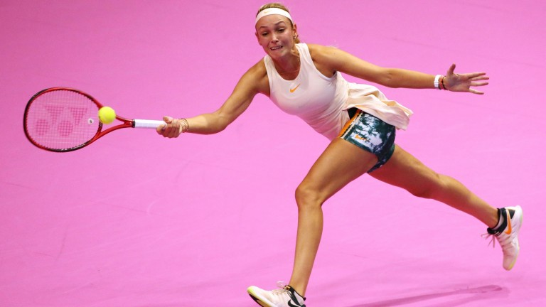 Donna Vekic reaches wide to play a forehand shot in Tokyo recently