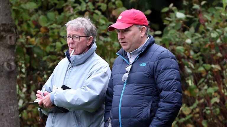 Dick O'Gorman (left) and Mark McStay are absorbed in an inispection