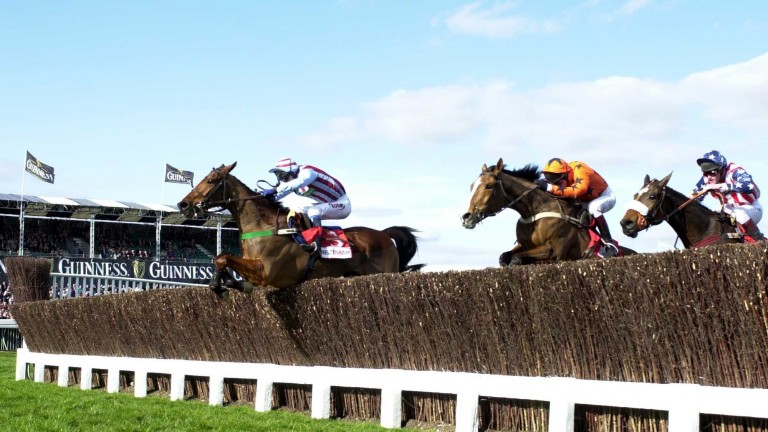 Edredon Bleu and Tony McCoy jump the last in the lead from Direct Route and Flagship Uberalles