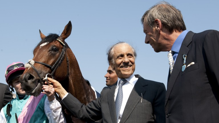 Khalid Abdullah and trainer Sir Henry Cecil after Frankel's 2,000 Guineas triumph at Newmarket in 2011
