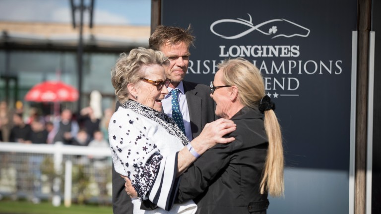 Sponsor Eva Maria Bucher-Haefner of Moyglare Stud greets winning owner Sonia Rogers (left) after Skitter Scatter's win in the Moyglare Stud Stakes
