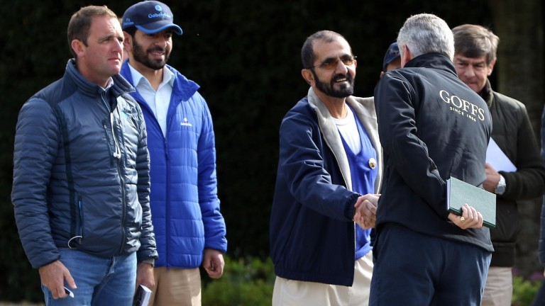 Henry Beeby greets Sheikh Mohammed at Goffs
