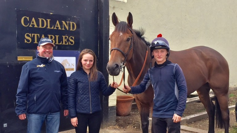 John Ryan, Laura Pearson, Plucky Dip and Cieren Fallon at Cadland Stables
