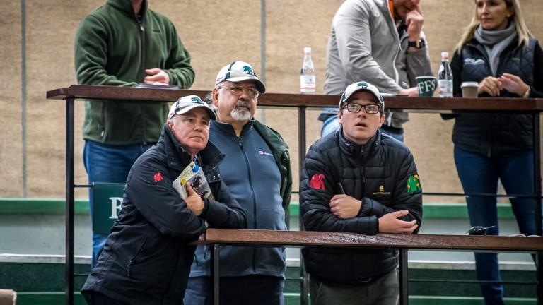 Ballylinch's John O'Connor, breeder Vimal Khosla and Mark Byrne watch proceedings