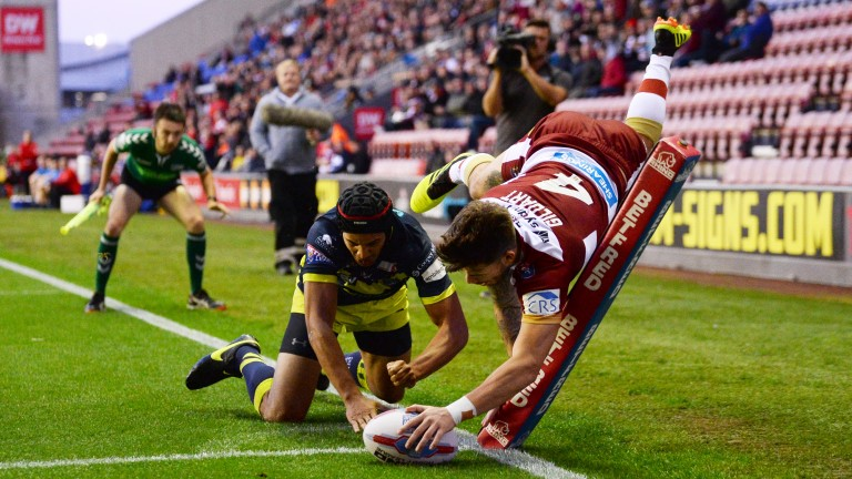 Wigan's Oliver Gildart touches down against Wakefield last month