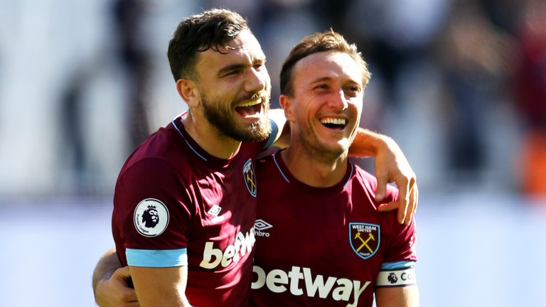 West Ham duo Robert Snodgrass (left) and Mark Noble are all smiles