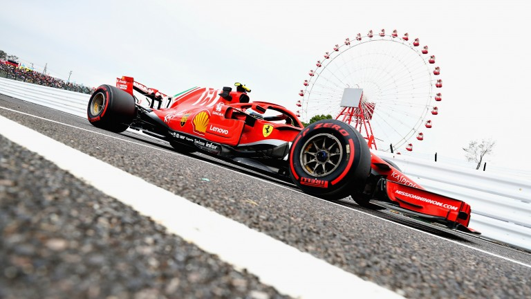 Kimi Raikkonen in action at Suzuka during practice