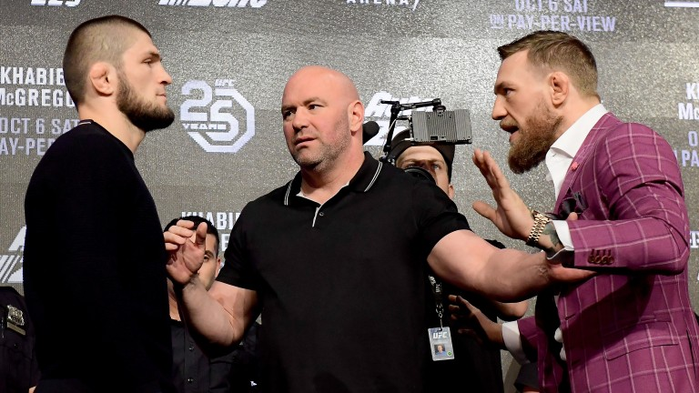 UFC lightweight champion Khabib Nurmagomedov faces-off with Conor McGregor