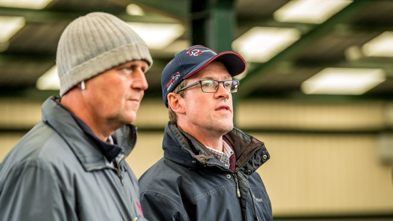 Trainer Ed Dunlop (left) and agent Matt Coleman meant serious business