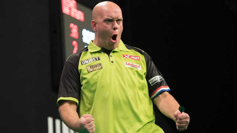 Michael van Gerwen celebrates during his semi-final win over Daryl Gurney in Dublin