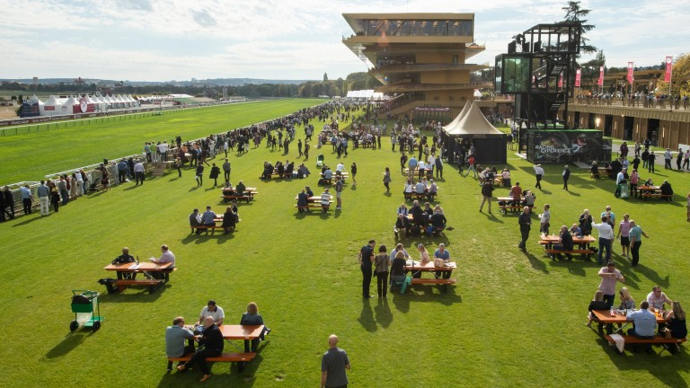 The scene at Longchamp on the opening day of the Arc meeting