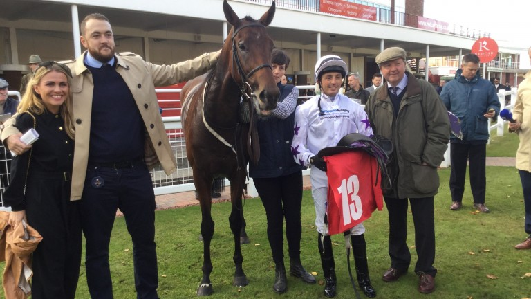 Lee Bond (left) battled through the pain barrier to watch Give It Some Teddy bounce back to form with a return to Redcar on the agenda