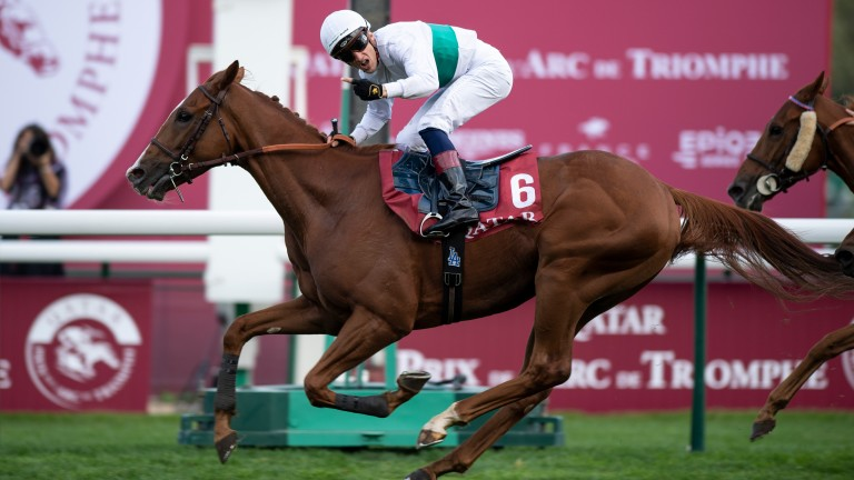 Celebrations: Aurelien Lemaitre celebrates Group 1 victory aboard Call The Wind at Longchamp