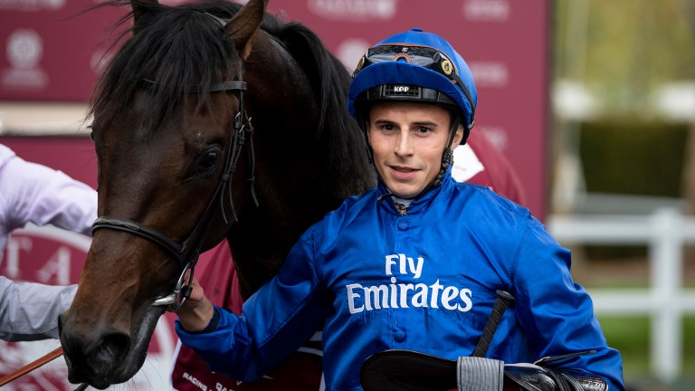 Godolphin glory: William Buick and Brundtland after their victory in the Group 2 Prix Chaudenay at Longchamp